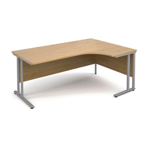 1800 Right Hand Ergonomic Oak Desk Silver Legs