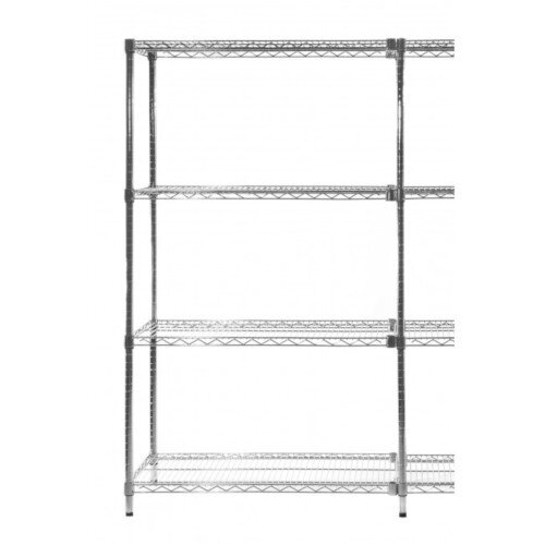 Olympic Chrome Wire Shelving System 1590mm High Add-On Unit WxD 1219x356mm 4 Shelves &2 Posts 350kg Shelf Capacity
