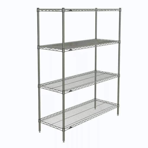 Olympic Chrome Wire Shelving System 1590mm High Starter Unit WxD 1067x356mm 4 Shelves &4 Posts 350kg Shelf Capacity