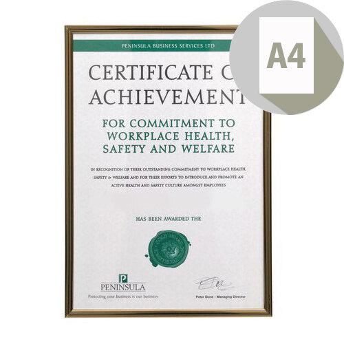 Black &Gold Pinstripe A4 Certificate Frame