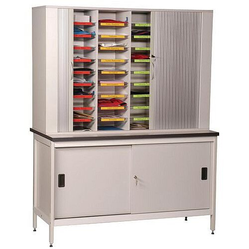 Clearview Freestanding Sort Unit With Lockable Tambour Doors And Bench H900 x D750 x L1500mm