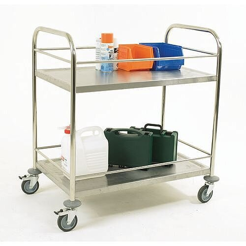 Stainless Steel Trolley With Retaining Bars And 2 Shelves Capacity 100kg