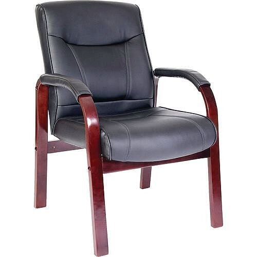Leather Visitor Waiting Chair Mahogany