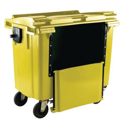 4-Wheel Wheelie Bin Drop Down Front 770L Yellow