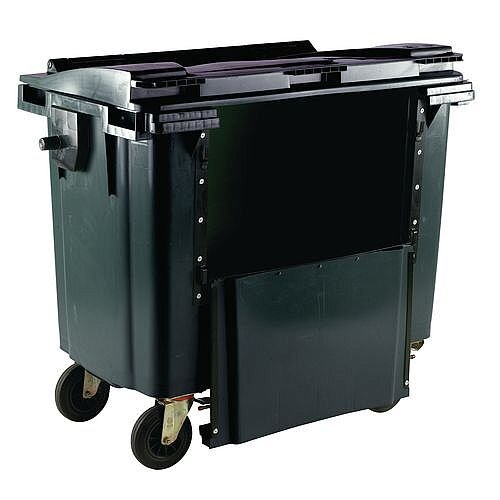 Wheelie Bin 1100 Litre with Drop Down Front Flat Lid Grey 1100L Grey