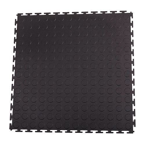 Hard 7Mm Thick Studded Floor Tiles For Industrial Use Black