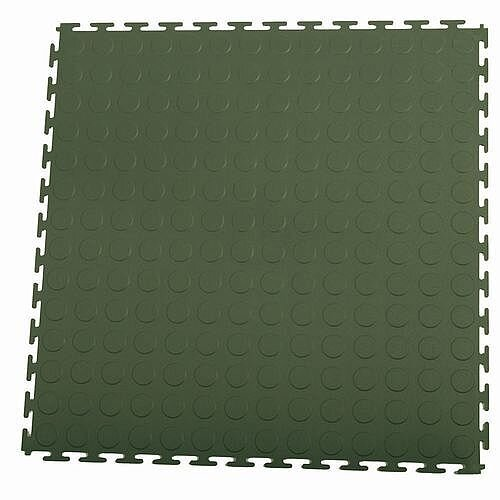 Hard 7Mm Thick Studded Floor Tiles For Industrial Use Green
