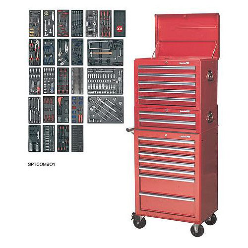 14 Drawer Toolchest Combination With 1179 Piece Tool Kit Red
