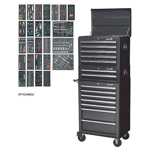 14 Drawer Toolchest Combination With 1179 Piece Tool Kit Black