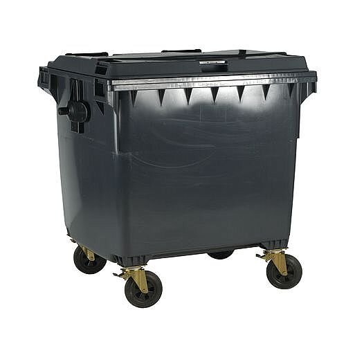 4-Wheel Wheelie Bin With Lockable Lid 1100L Grey