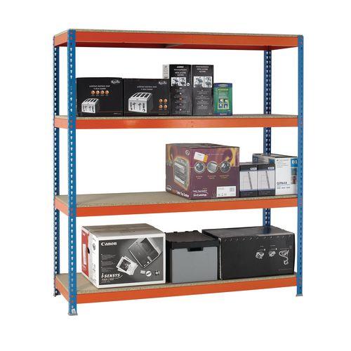 2m High Heavy Duty Boltless Chipboard Shelving Unit W1800xD600mm 600kg Shelf Capacity With 4 Shelves - 5 Year Warranty