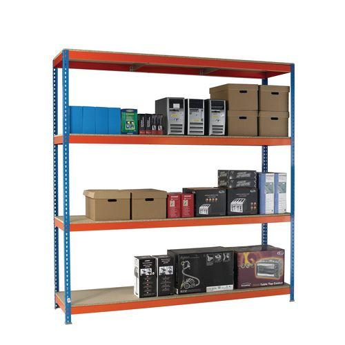 2.5m High Heavy Duty Boltless Chipboard Shelving Unit W1800xD600mm 600kg Shelf Capacity With 4 Shelves - 5 Year Warranty