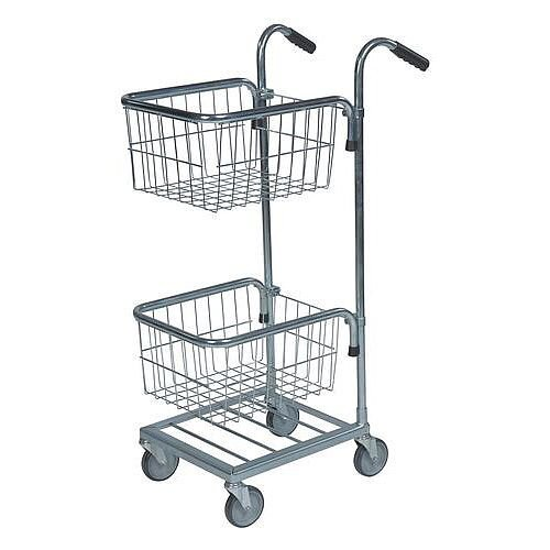 Konga Mini Mail Trolley With 2 Baskets Bright Zink Plated 35 kg Capacity - 5 Year Warranty