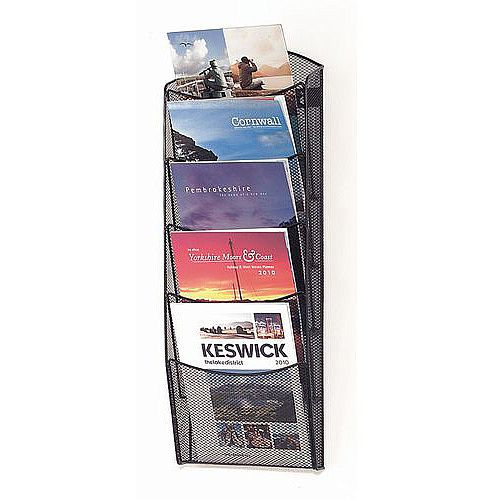 Wall Mounted Mesh Brochure Dispenser 5 A4 Pockets