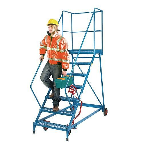 Reduced Gradient Wide 10 Tread Mobile Steps Steel Platform Height 2.30m Blue