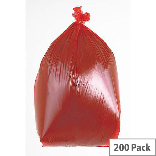 Waste Sacks Medium Duty Red 90L Pack of 200