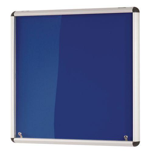 Heavy Duty Tamperproof Slimline Lockable Office Noticeboard Blue Frame HxW 900x600mm