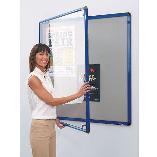 Heavy Duty Tamperproof Slimline Lockable Office Noticeboard Aluminium Frame HxW 1200x900mm