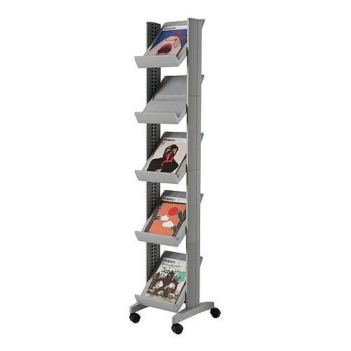 Silver Narrow Mobile Adjustable Shelving Unit 5 X A4 Shelves
