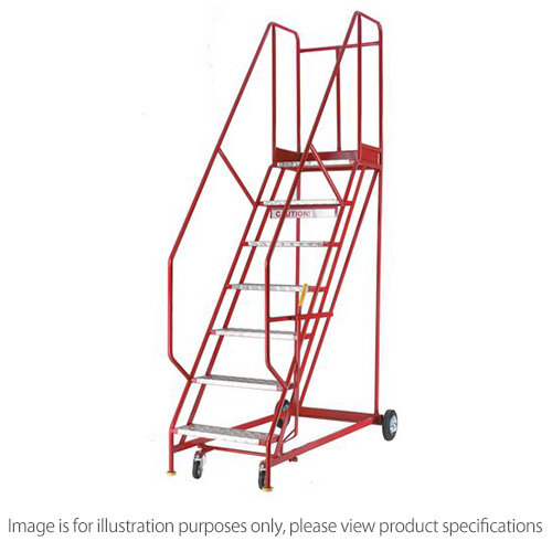Heavy Duty Warehouse Steps Aluminium 10 Tread Max Height 3.415M Platform Height 2.5M
