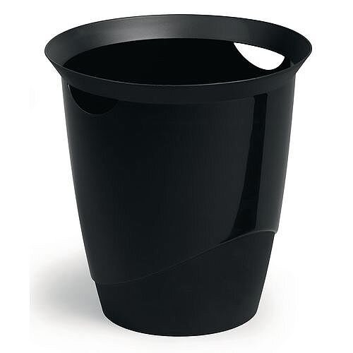 Plastic Waste Basket Office Desk Bin Black 16L