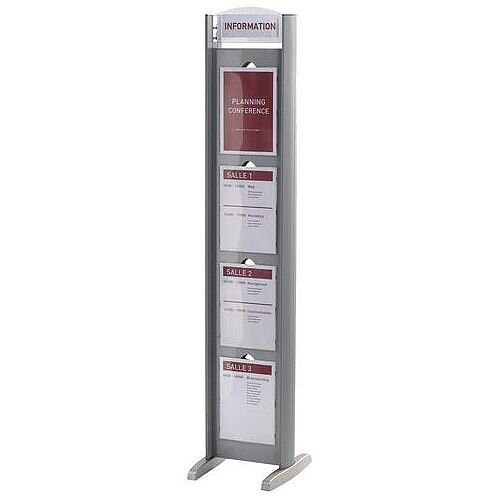 Double-Sided Poster Frame Tower 8 X A4 Panels And Top Bar