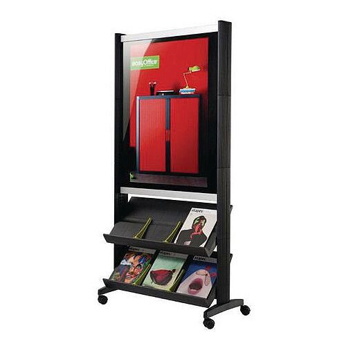 Poster Presenter With Two Shelves A1 Panel And 6 X A4 Pockets