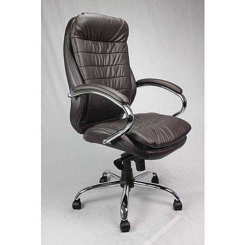 High Back Leather Executive Office Armchair With Chrome Base Brown