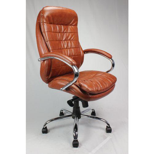 High Back Leather Executive Office Armchair With Chrome Base Tan