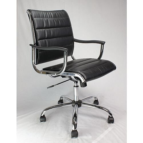 Leather Effect Designer Office Armchair With Chrome Base Black