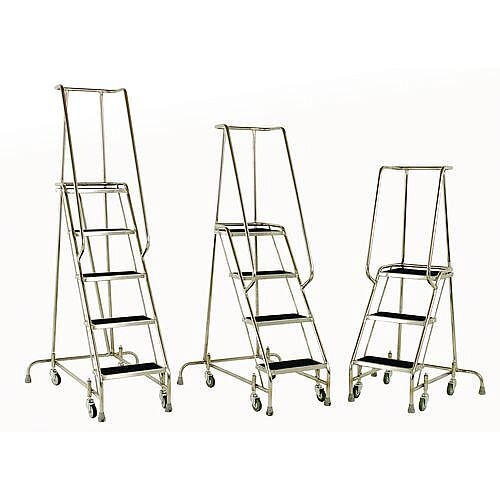 Stainless Steel Mobile &Static Steps With Grabrail Max Height 1.425m 765Mm Platform Height