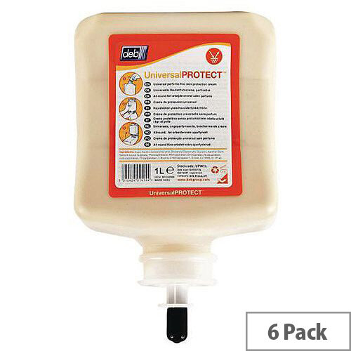 DEB Pre-Work Hand Cream Capacity 1L Cartridge Refills Pack 6
