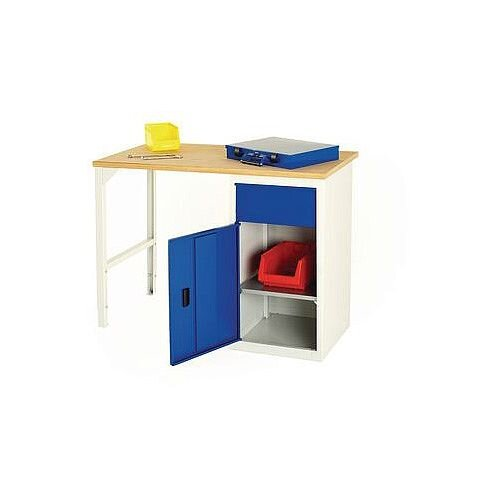 Basic Pedestal Workbench Basic Workbench With Single 200mm Drawer And Cupboard H900 x D600 x L1800mm