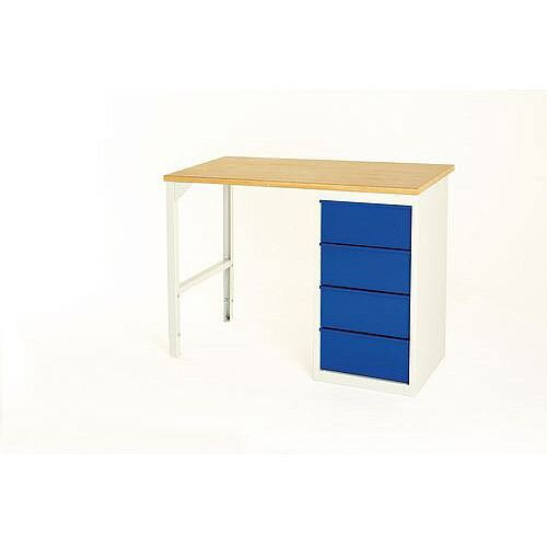 Basic Pedestal Workbench Basic Workbench With Four 200mm Drawers H900 x D600 x L1200mm