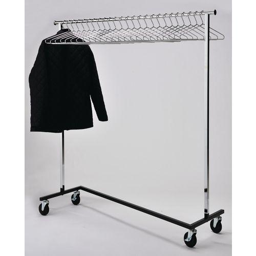 Mobile Chrome Coat Rack Kit With 25 Chrome Hangers