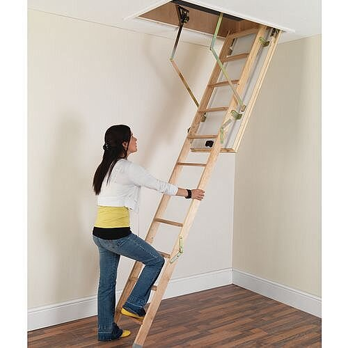 3 Section Folding Deluxe Timber Loft Ladder 12 Treads Height 285m Wood En 14975