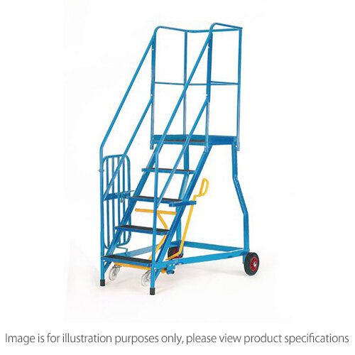 Heavy Duty Warehouse Steps Rubber 6 Treads Max Height 2.38M Platform Height 1.38M