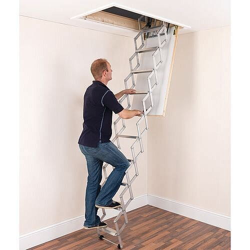 Aluminium Attic Concertina Ladder 10 Treads Max Ceiling Height 2.73m Silver EN14975