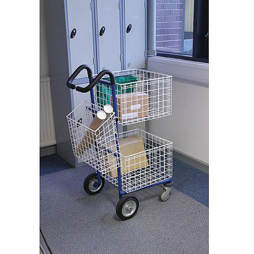 Small Mailroom Trolley With Comfort Grip Handles