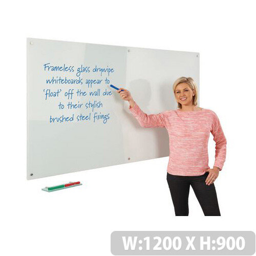Write-on Magnetic Glass Whiteboard 1200x900mm White