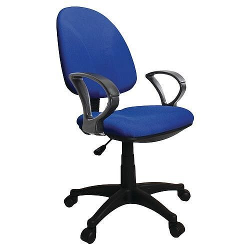 Single Lever Task Operator Office Chair With Arms Blue