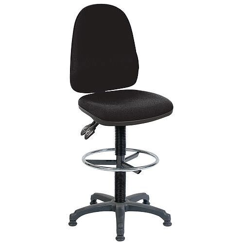 High Back Draughter Chair With Lumbar Support H690 - 840mm Black