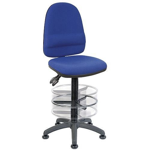 High Back Deluxe Draughter Chair With Lumbar Support &Adjustable Foot Ring H570 - 850mm Blue