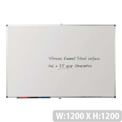 Writeon Premium Vitreous Enamel Magnetic Steel Whiteboard 1200X1200mm