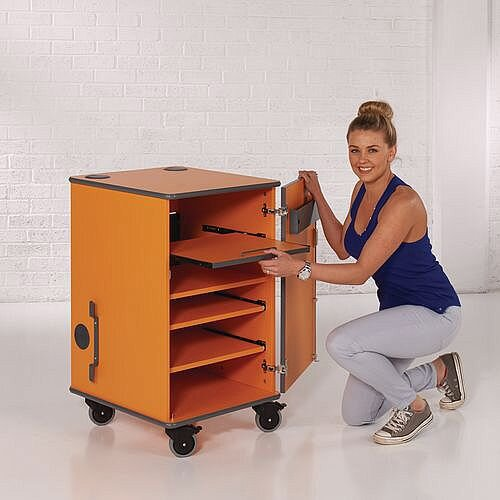 Secure Multimedia Projector Mobile Cabinet Orange