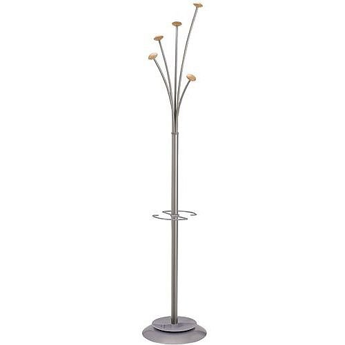 Contemporary Coat And Umbrella Stand Silver &wood