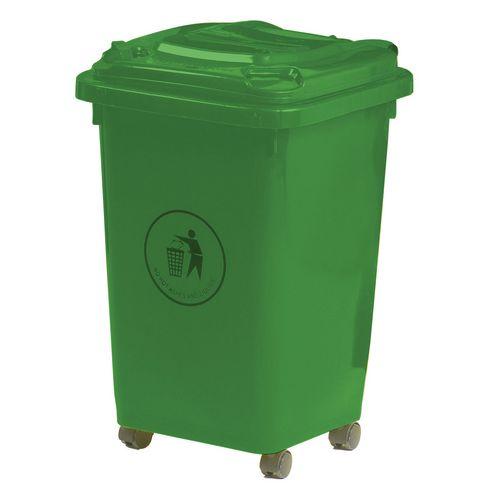 50L Wheelie Bin 4 Wheeled Waste Green