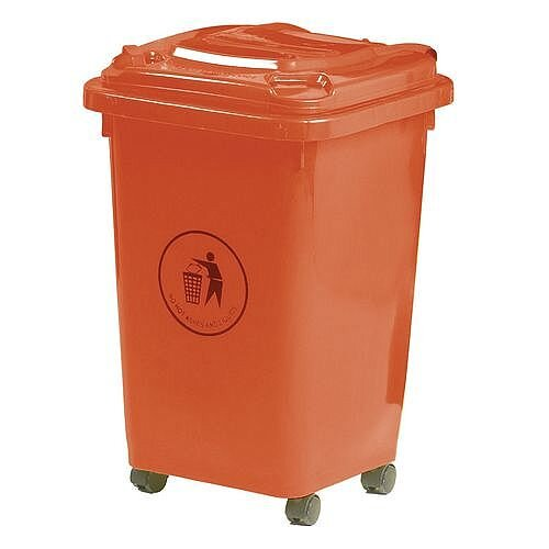 50L Wheelie Bin 4 Wheeled Waste Red