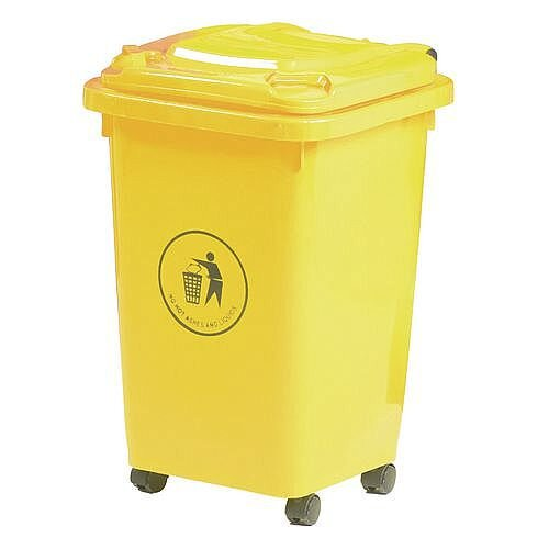 50L Wheelie Bin 4 Wheeled Yellow