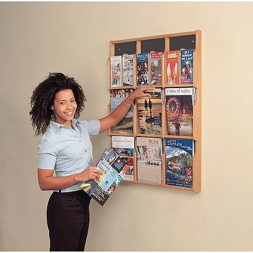 Wall Mounted Wood Literature Display Pocket Size 9 x A4